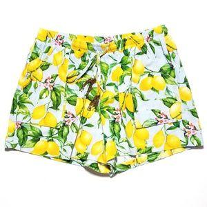 NEW For Cynthia Lemon Linen Drawstring Shorts